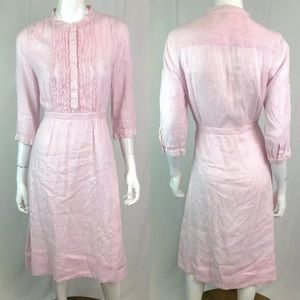 J. Crew Striped Linen Ruffled Seersucker Dress